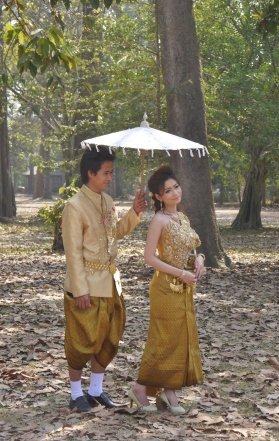 A Cambodian wedding photo shoot.  A couple may change into ten outfits in one day.