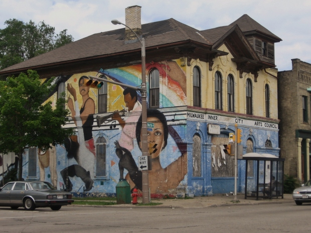 A building a few blocks from the school I worked at on the Northside of Milwaukee. The school was 99% black. (taken 2009)