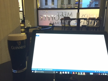 Having a Guinness in Belfast, Northern Ireland.
