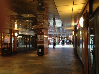 Going through the Great Northern Mall to the Europa Bus Centre