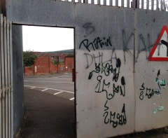 Gate in the wall between the Falls and the Shankill, looking into the Shankill