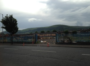 A wasteland in the Shankill, where an Eleventh Night bonfire is being built