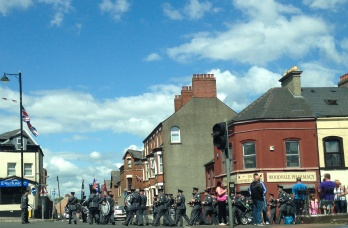Loyalist flute band marching in the Shankill