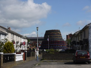 Another Eleventh Night bonfire in the Shankill, still being built