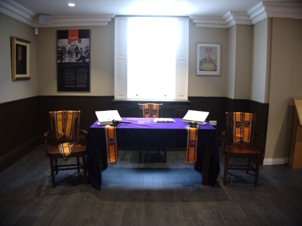 A reconstruction of the inside of a Protestant Loyalist Orange Hall, in the Museum of Orange Heritage, Belfast