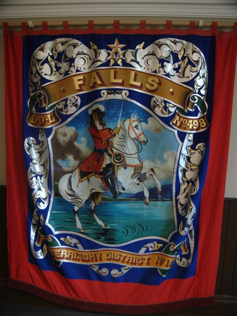 Banner commemorating the victory of Protestant King William of Orange over Catholic King James in 1690, in the Museum of Orange Heritage, Belfast. Banners like this are carried by Protestant Loyalist flute bands.