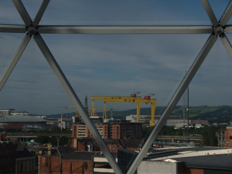 View of the H & W cranes from inside Victoria Square Shopping Centre