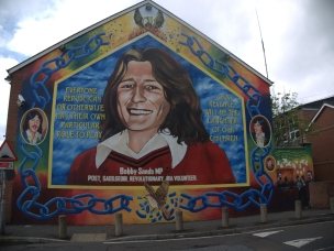 Bobby Sands mural honoring the leader of the Hunger Strikes on the Falls Road